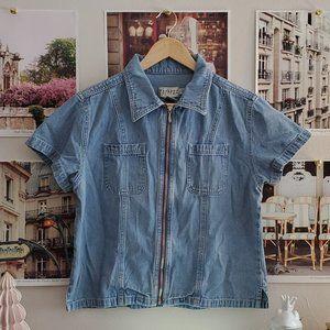 Vintage 90s Weekend Edition Zipperfront Denim Top